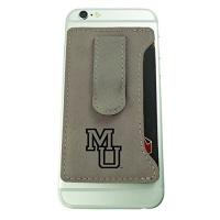mercer university leatherette cell phone card holder tan