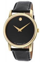 movado 2100005 museum black dial leather mens watch