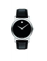 movado mens 2100002 museum stainless steel and black