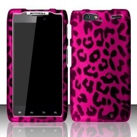 pink leopard hard faceplate cover phone case for motorola