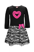 swak girls long sleeve aniaml printed dresses black size