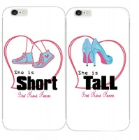 sharkshort and tall girls best friend matching couple phone