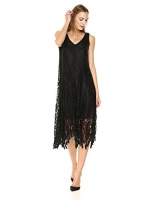 taylor dresses womens lace sleeveless midi dress black size
