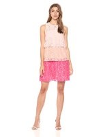 taylor dresses womens triple tier lace dress blush coral
