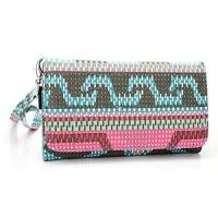 wallet phone holder case pinkteal hipster pattern universal