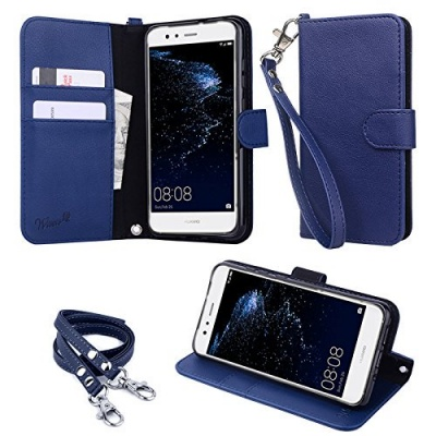 """Photo of wisers HUAWEI P10 lite WAS-LX3 5.2"""" 5.2-inch cell phone Wallet Case Book Design with Hand Strap Neck Strap Card Slots"""