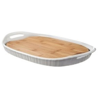 corningware french white platter bamboo board insert water coolers filter