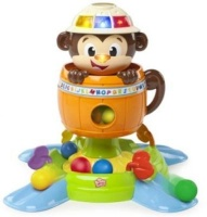 having a ball hide n spin monkey musical toy