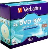 verbatim dvd rw matt silver 4x in jewel case 5 pack computer