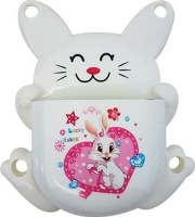 bunny toothbrush holder white with pink bathroom accessory