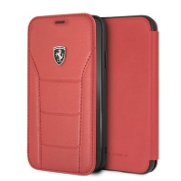 Ferrari Genuine Leather Flip Case iPhone XR Red