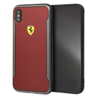 FERRARI Printed Carbon Effect iPhone XS MAX Red