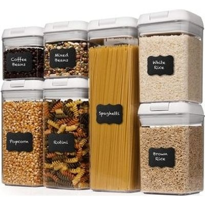Maisonware 7 Airtight Pantry Food Storage Containers with Easy Lock Lids