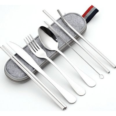 Maisonware 8 Piece Travel Cutlery Set with Bag