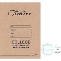 treeline feint margin college exercise book a4 72 pages other