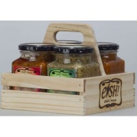 eish 4 chilli sauces with handmade wooden gift box sweet condiments sauce