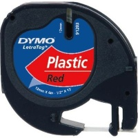 dymo letratag tape 12mm x 4m black on red labeling system