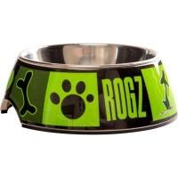 rogz 2 in 1 bubble dog bowl large 700ml lime juice design dog