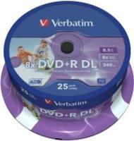 verbatim printable 8x dvdr dl 25 pack on spindle computer