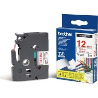 brother tz 232 p touch laminated tape red on white 12mmx8m labeling system