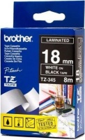 brother tz 345 p touch laminated tape white on black labeling system