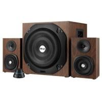 trust vigor 21 channel subwoofer speaker set 50w brown computer