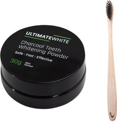 Ultimate White Activated Charcoal Teeth Whitening Powder Toothbrush Set
