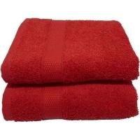 buntys auchen hand towel 50x90cms 380gsm 2 pieces pack red bath towel