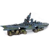 penn plax battleship aquarium ornament medium