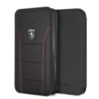 Ferrari Genuine Leather Flip Case iPhone XR Black