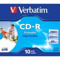 verbatim azo printable 52x cd r 10 pack in jewel cases computer