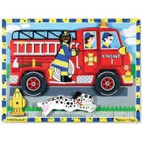 melissa and doug chunky puzzles fire truck 18 pieces learning toy