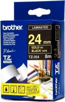 brother tz 354 p touch laminated tape gold on black labeling system