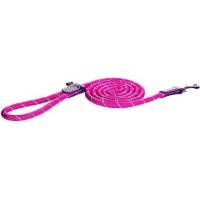 rogz rope fixed long dog lead pink reflective