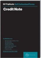rbe a5 credit note triplicate pads of 3 other