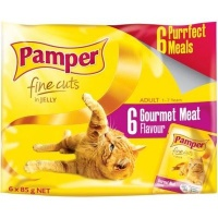 pamper fine cuts in jelly gourmet meat flavour cat food feeding