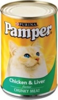 pamper chunky meat chicken and liver flavour tinned cat feeding