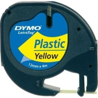 dymo letratag tape 12mm x 4m black on yellow labeling system