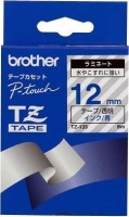 brother tz 133 p touch laminated tape blue on clear labeling system