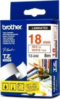 brother tz 242 p touch laminated tape red on white 18mmx8m labeling system