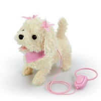 addo pitter patter pets walk along puppy with bow cream electronic toy