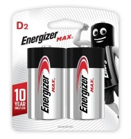 energizer max alkaline d e95 card 2 pack battery