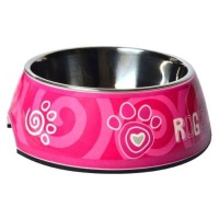 rogz 2 in 1 bubble dog bowl small 160ml pink paws dog