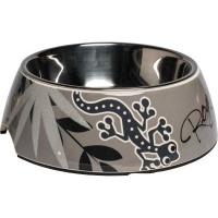 rogz 2 in 1 bubble dog bowl large 700ml silver gecko design dog