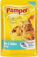 pamper fine cuts in gravy tuna and salmon flavour cat food feeding