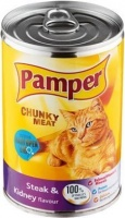 pamper chunky meat steak and kidney flavour tinned cat feeding