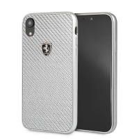 Ferrari Real Carbon Hard Case iPhone XR Silver