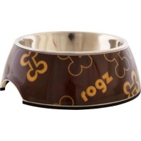 rogz lapz 2 in 1 bubble bowl brown bones design feeding
