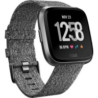 fitbit versa smartwatch charcoal woven graphite gps