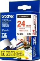 brother tz 252 p touch laminated tape red on white 24mmx8m labeling system